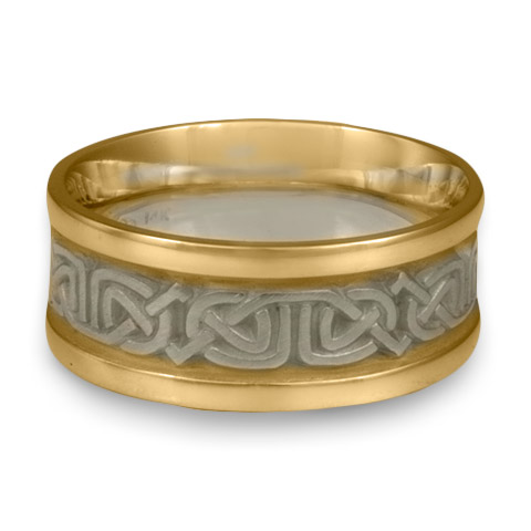 Narrow Two Tone Labyrinth Wedding Ring in 14K Gold Yellow Borders/White Center Design