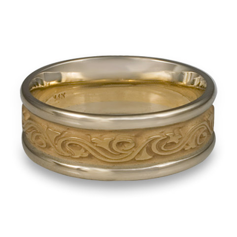 Two Tone Wind and Waves Wedding Ring in 14K Gold White  Borders/Yellow Center Design