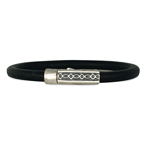 Felicity Leather Bracelet in Black