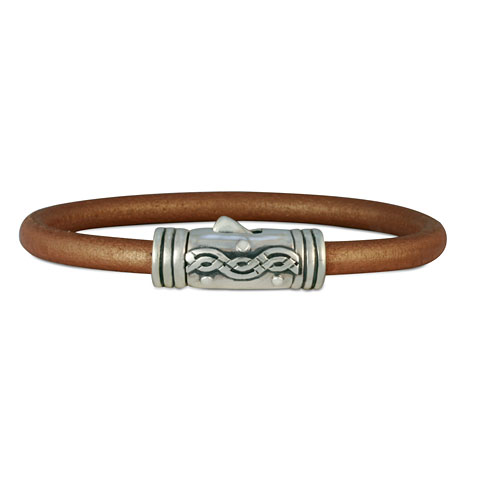 Wave Leather Bracelet in Copper