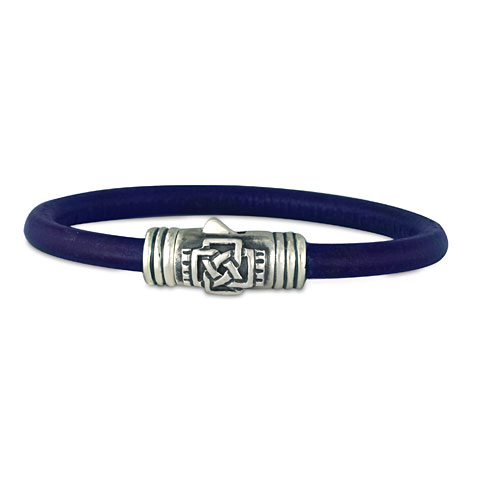 Finn Silver Leather Bracelet in Grape