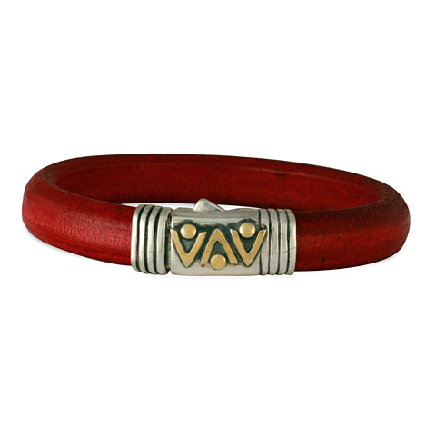 Chevron Leather Bracelet in  Red