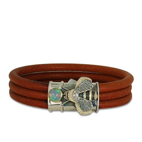 Bee Leather Bracelet in