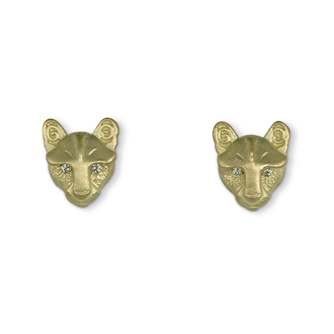 Solid Gold Small Mountain Lion Stud Earrings with Diamond Eyes in