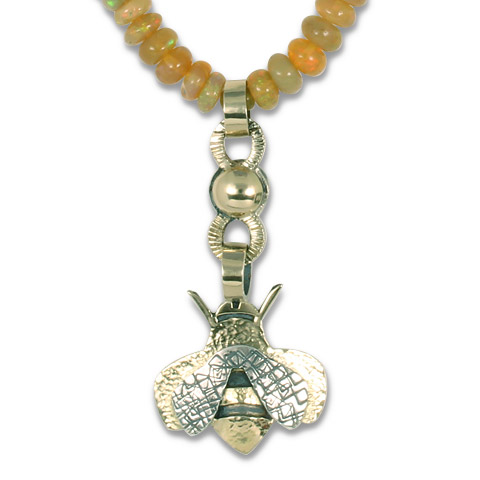 One-of-a-Kind Bee Necklace with Ethiopian Opal Beads in