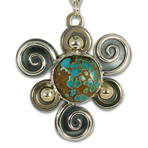 One-of-a-Kind Swirl Pendant with Royston Natural Turquoise in