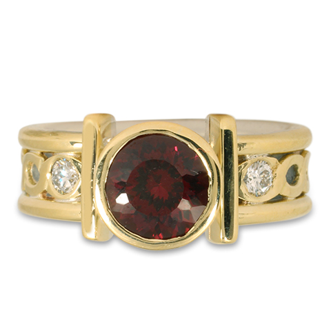 One-of-a-Kind Open Rope Ring with Portuguese Cut Garnet in