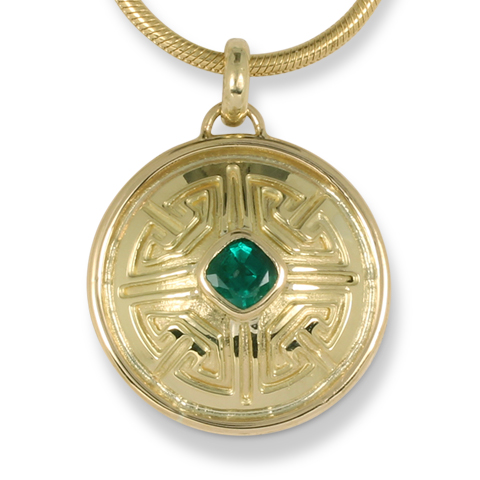 One-of-a-Kind Key Pendant with Natural Zambian Emerald in