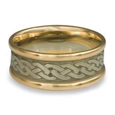 Narrow Two Tone Celtic Link Wedding Ring in 14K Yellow Gold Borders w 14K White Gold Center