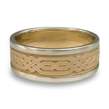 Narrow Two Tone Persian Wedding Ring in 14K Gold White  Borders/Yellow Center Design