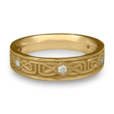 Extra Narrow Labyrinth Wedding Ring with Gems  in 311 Diamond