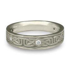 Extra Narrow Labyrinth Wedding Ring with Gems  in Diamond