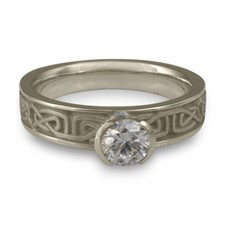 Extra Narrow Labyrinth Engagement Ring in 14K White Gold