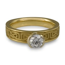 Extra Narrow Labyrinth Engagement Ring in 18K Yellow Gold