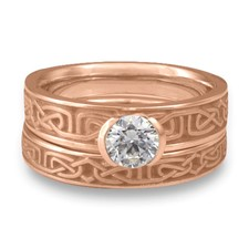 Extra Narrow Labyrinth Bridal Ring Set in 14K Rose Gold