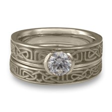 Extra Narrow Labyrinth Bridal Ring Set in 14K White Gold