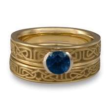 Extra Narrow Labyrinth Bridal Ring Set in Sapphire