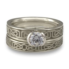 Extra Narrow Labyrinth Bridal Ring Set in Platinum