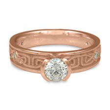 Extra Narrow Labyrinth Engagement Ring with Gems in 14K Rose Gold