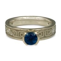 Extra Narrow Labyrinth Engagement Ring with Gems in Sapphire