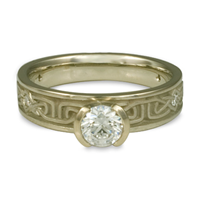 Extra Narrow Labyrinth Engagement Ring with Gems in 18K White Gold