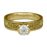 Extra Narrow Labyrinth Engagement Ring with Gems in 18K Yellow Gold