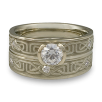Extra Narrow Labyrinth Bridal Ring Set with Gems in 14K White Gold