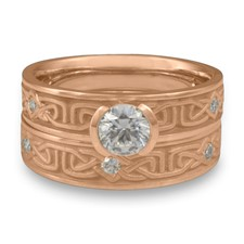 Extra Narrow Labyrinth Bridal Ring Set with Gems in 18K Rose Gold