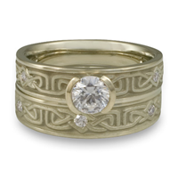 Extra Narrow Labyrinth Bridal Ring Set with Gems in 18K White Gold