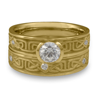 Extra Narrow Labyrinth Bridal Ring Set with Gems in 18K Yellow Gold