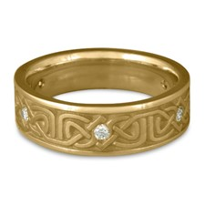 Narrow Labyrinth Wedding Ring with Gems in 311 Diamond