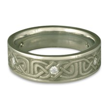 Narrow Labyrinth Wedding Ring with Gems in Diamond