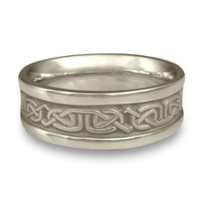 Extra Narrow Self Bordered Labyrinth Wedding Ring in Platinum