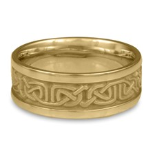 Narrow Self Bordered Labyrinth Wedding Ring in 14K Yellow Gold