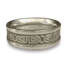 Narrow Self Bordered Labyrinth Wedding Ring in Stainless Steel