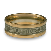 Extra Narrow Two Tone Labyrinth Wedding Ring in 14K Yellow Gold Borders w 14K White Gold Center