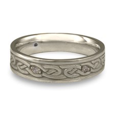 Narrow Infinity Wedding Ring with Gems in Platinum