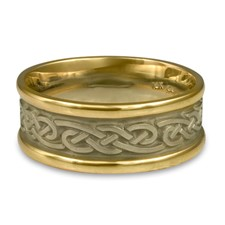 Medium Two Tone Infinity Wedding Ring in 18K Gold Yellow Borders/White Center Design