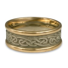 Narrow Two Tone Infinity Wedding Ring in 14K Gold Yellow Borders/White Center Design