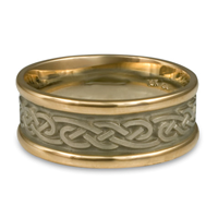 Medium Two Tone Infinity Wedding Ring in 14K Gold Yellow Borders/White Center Design