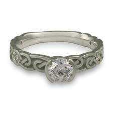 Narrow Borderless Infinity Engagement Ring with Gems in Palladium