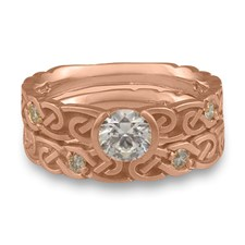 Narrow Borderless Infinity Bridal Ring Set with Gems in 14K Rose Gold