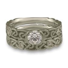 Narrow Borderless Infinity Bridal Ring Set with Gems in Palladium