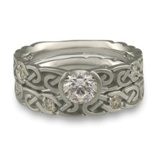 Narrow Borderless Infinity Bridal Ring Set with Gems in Platinum