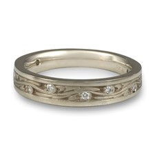 Extra Narrow Starry Night Wedding Ring with Gems  in 311 Diamond