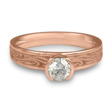 Extra Narrow Starry Night Engagement Ring in 14K Rose Gold