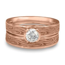 Extra Narrow Starry Night Bridal Ring Set in 14K Rose Gold