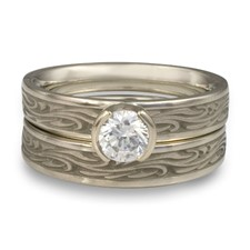 Extra Narrow Starry Night Bridal Ring Set in 14K White Gold