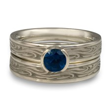 Extra Narrow Starry Night Bridal Ring Set in Sapphire