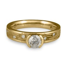 Extra Narrow Starry Night Engagement Ring with Gems  in Diamond